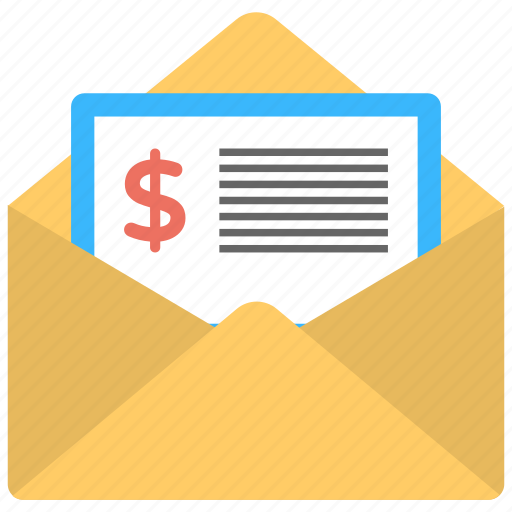 electronic invoicing, invoice email, invoice mail, invoice message, invoice postal mail icon