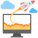 new business concept, new website startup, online business startup, rocket startup launch, startup launch icon