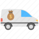 armored car, armored cash transport, armored van, money truck, security van icon