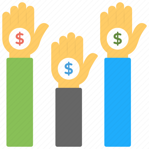 business banking, crowd money, crowdfunding, crowdsourcing, fundraising icon