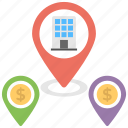 business locations, map location pin, official location tracking, official locations, official sites icon