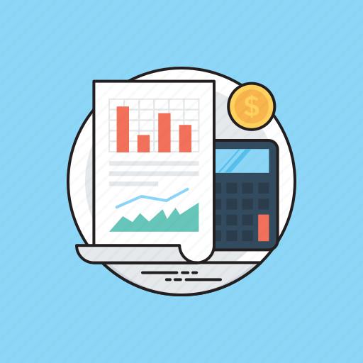 accounting, business evaluation, data analysis, finance interpretation, mathematical calculation icon