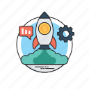 business startup, project management, rocket launch, startup management, startup strategy icon
