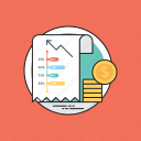 business growth, business report, finance report, graphical presentation, monetary statement icon