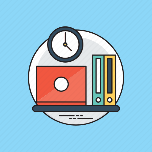 employee punctuality, office routine work, to-do work, working hours, working tools icon
