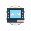 automated teller machine, cash dispenser, customer deposit, debit card, online transaction