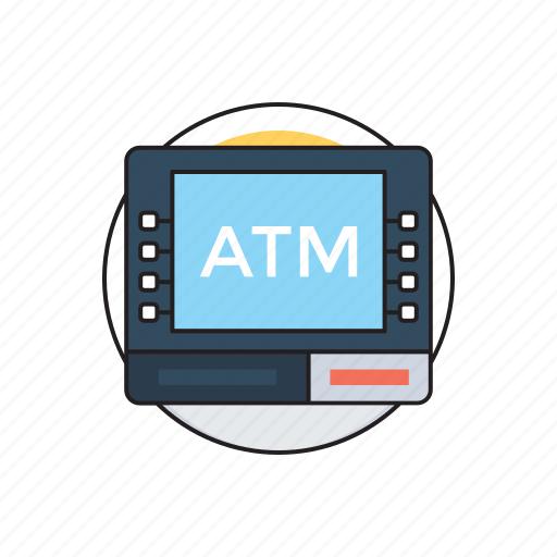 automated teller machine, cash dispenser, customer deposit, debit card, online transaction icon