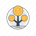 asset management, financial investment, money growth, money making ideas, profit maximization icon