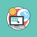 digital payments, internet billing, online payments, online shopping, pay via internet icon