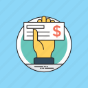 bank document, cashier check, checkbook, e commerce, finance payment icon