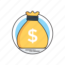 budget saving, business profit, income benefit, money bag, savings icon
