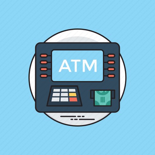 atm, bank machine, card swapping, cash in hand, cash withdrawal, money payment. icon