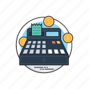 calculating transactions, cash calculation, cash register, cash till, tally machine icon