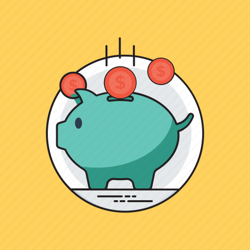 cash saving, emergency funds, penny bank, piggy bank, retirement icon