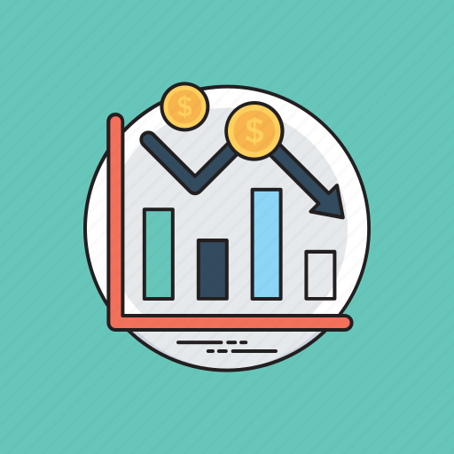 business analytics, business downfall, claiming business, finance decrease, loss icon