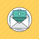 bill supply, business check, mail money, monetary letter, money order icon