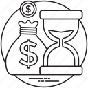 business and finance, business time, hourglass, success speed, time is money icon