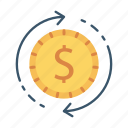 coin, exchange, money, transfer icon
