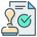 approved, banking, check mark, document, stamp icon
