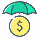 business insurance, coin, insurance, umbrella icon
