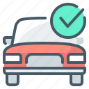 approved, auto, car, check mark, crediting icon