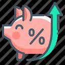banking, deposit, growth, percent, piggy bank icon