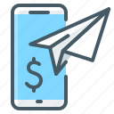 mobile, mobile payment, payment, send funds, transfer icon