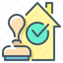 approved, check mark, home, loan, mortgage, mortgage loan, stamp icon