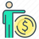 coin, funds, man, own funds icon