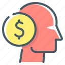 coin, head, planning, saving plan, think icon