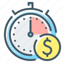 management, money, services, stopwatch, time, time is money icon