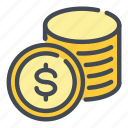 bank, coin, dollar, money, pay, payment, stack icon
