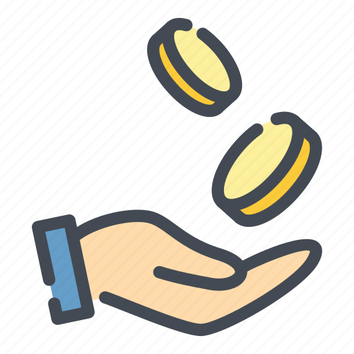 coin, donate, donation, fall, hand, money, payment icon