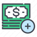 add, cash, dollar, money, note, pay, payment icon