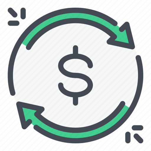 currency, dollar, finance, income, money, refresh, update icon