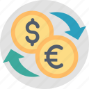 banking, currency, dollar, euro, exchance, finance, money icon