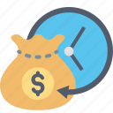 clock, finance, income, investment, money, profit, time icon