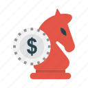 chess, dollar, finance, planning, strategy icon