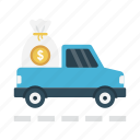 delivery, dollar, fast, finance, truck icon