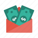 currency, dollar, envelope, finance, money icon