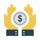 dollar, hand, money, pay, secure icon