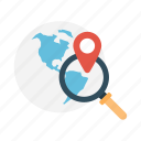 earth, location, magnifier, map, search icon