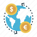 finance, money, exchange, transfer, global icon