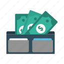 cash, dollar, finance, money, wallet icon