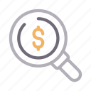 audit, business, dollar, finance, search icon