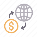 dollar, exchange, global, money, transfer icon
