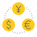 banking, business, cash, currency, finance, money, money exchange icon