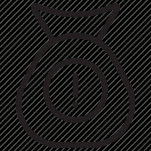 alert, bag, error, exclamation icon