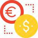 coin, currency, dollar, euro, exchange, finance, money icon