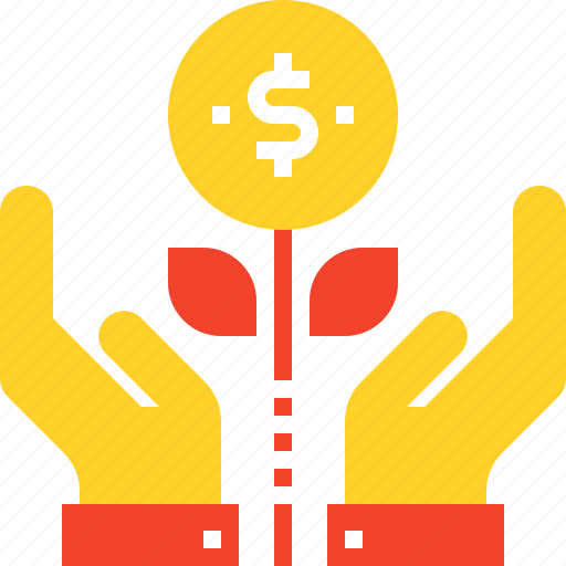 finance, flower, growth, hands, investment, money, plant icon